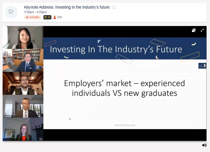 Screenshot of a keynote address from IT&CM Asia and CTW Asia-Pacific 2020 virtual event