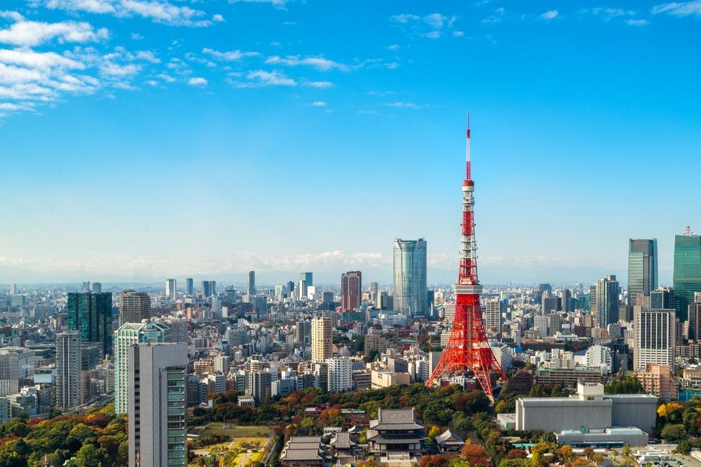 Skyline view of Tokyo tower in Japan