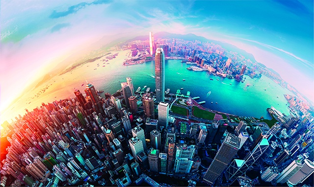 Skyline view of Hong Kong city