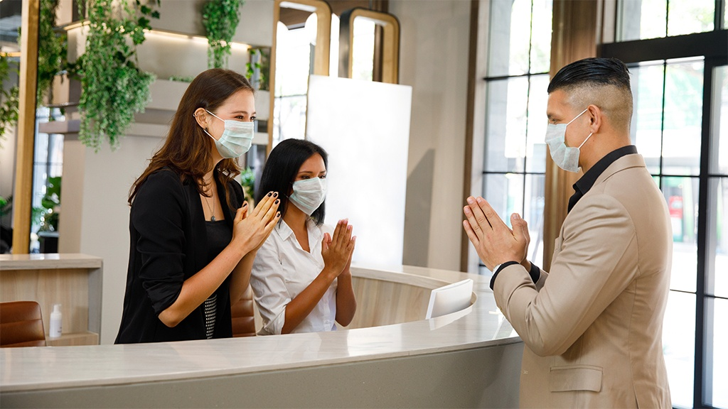 Thai hospitality greeting during the COVID-19 pandemic