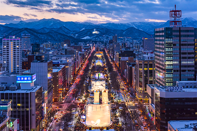 Night view cityscape of Sapporo, Japan